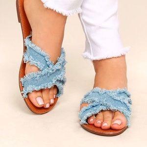 Like New! Frayed Denim Sandals